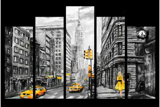 Модульная картина Рисунок Нью-йорк