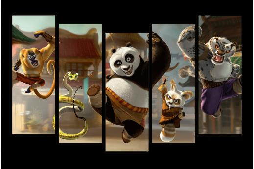 Модульная картина для детской Панда Кунг-фу